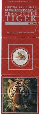 Certificate from coin set Year of the Tiger 2010, Lunar