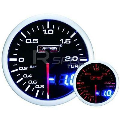 Prosport 52mm Smoked White Amber Boost BAR Gauge with Dual Display