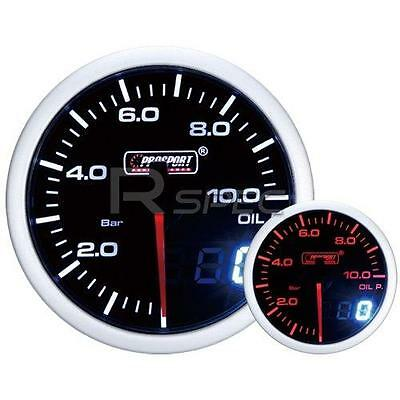 Prosport 52mm Smoked White Amber Oil Pressure BAR Gauge with Dual Display