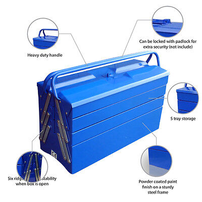 64 Us Pro Tools Portable Blue Steel Storage Tray Cantilever Tool Chest Box