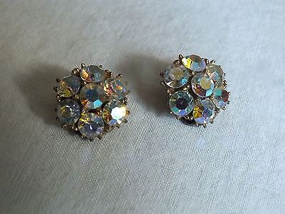 Collectible Clip Earrings Gold Tone Sparkling AB Rhinestones 3/4 Inch WOW