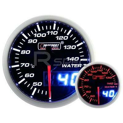 Prosport 52mm Smoked White Amber WaterTemperature Deg C Gauge with Dual Display