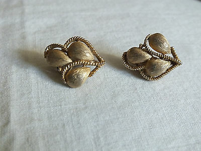 Collectible Clip Earrings Gold Tone Matte Textured Signed TRIFARI Nice