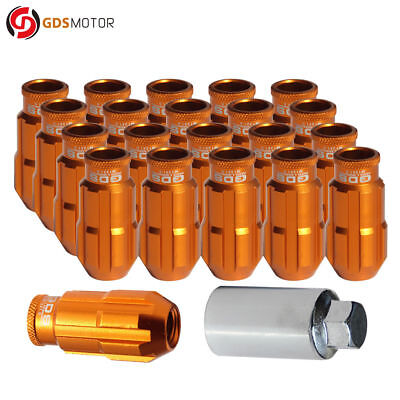 GDS 20pc 50mm Extended Racing Wheel Lug Nuts M12x1.5 for Honda Acura Toyota Gold