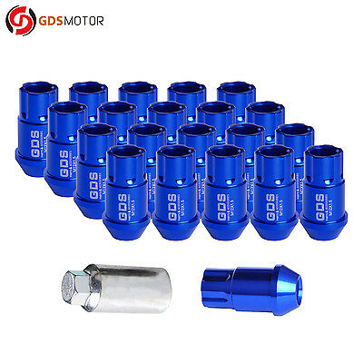 20pcs 44MM Blue Racing Wheel Lug Nuts M12X1.5 Studs For Honda Toyota Lexus + KEY