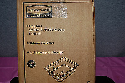 """1-Box of 6 / Rubbermaid #FG106P00 Clear 1/2 Size - 6"""" Food Pans (#S5161)"""