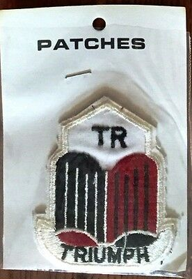 Vintage TR Triumph Patch - Retro Red, Black, & White Embroidered Badge