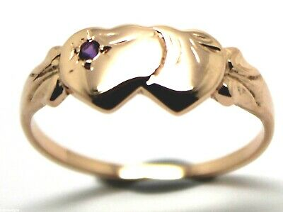Genuine 9Ct Rose Gold Amethyst (Birthstone Of February)Double Heart Signet Ring
