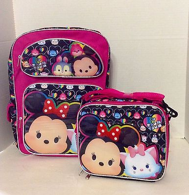 """Disney Tsum Tsum 16"""" inches Backpack & Lunch Box BRAND NEW Licensed Product Girl"""