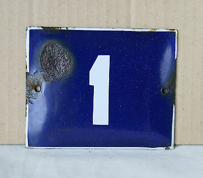 VINTAGE 60`s FRENCH BLUE PORCELAIN ENAMEL SIGN PLATE STREET HOME DOOR NUMBER 1