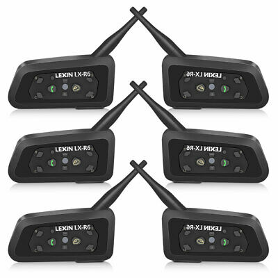 6 x BT Bluetooth Motorcycle Helmet Intercom Headsets for 2 to 6 Riders 1200M