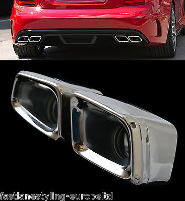 Mercedes Amg Style Twin Pair Stainless Steel Exhaust Tail Pipe Trims (Quad)