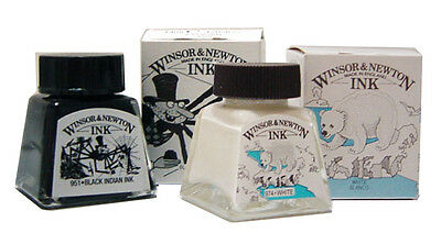 Winsor and Newton Drawing Ink  14ml bottle Choice of  Black Indian or White