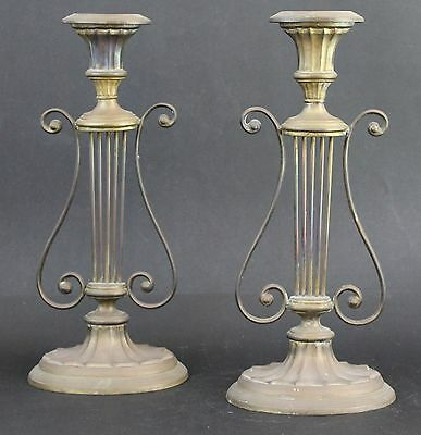 "Vintage Pair of Signed Mottahedah WM Adaptation Brass ""HARP"" Form Candlesticks"