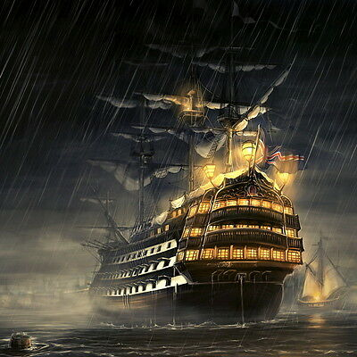 Best gift MOONLIT SHIP Oil painting Art wall Picture HD Printed on canvas 20x 20