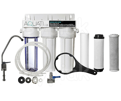 3 Stage Hma Under-Sink Drinking Water Filter System Kit + Faucet + Accessories