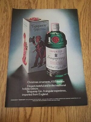 1973 Vintage Original Print Ad For Tanqueray Gin Christmas Holiday Colours