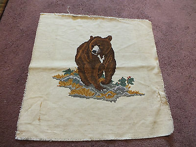 Collectible Needlepoint Sampler Brown Bear Complete & Ready to Frame 25 x 25 WOW