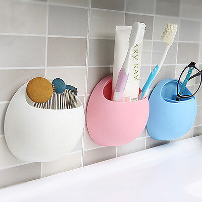 Bathroom Kitchen Wall Suction Cup Toothbrush Toothpaste Holder Storage Pocket