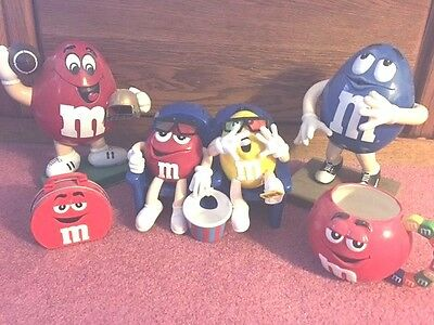 2 M & M Candy Dispensers, Red and Blue