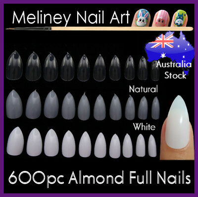 600pc Almond Full Cover Stiletto Pointy False Nail Tips Oval Acrylic Gel Claw