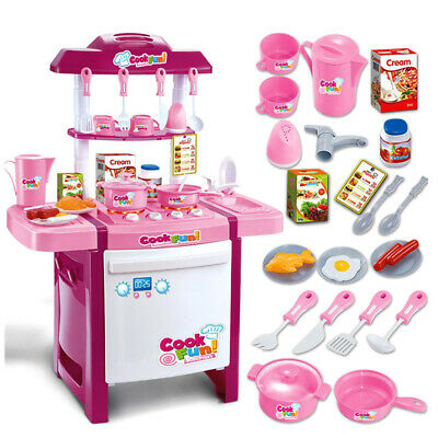 Kids Childrens Pretend Role Play Toy Mini Chef Kitchen Utensils Cooking Set Pink
