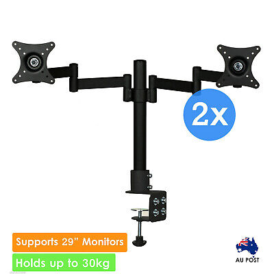 2x Dual Hand Desk Monitor Stand Mount Bracket LED 2 Arms Holds Two LCD Screen TV