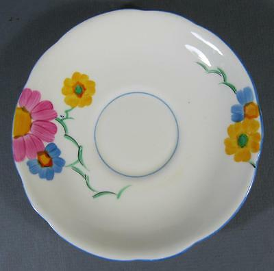 Shabby vintage Paragon china England saucer handpainted floral pattern