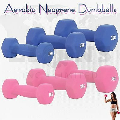 1/2/3kg Neoprene Iron Dumbbells Aerobic Strength Hand Weights Gym Home Fitness