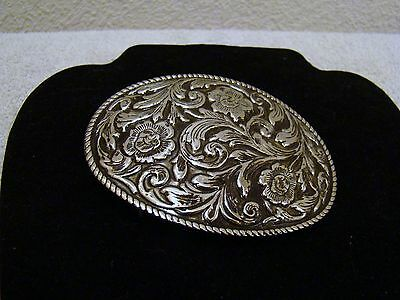 Silver-Toned Flower Designed Belt Buckle, Western Collectible Accessory