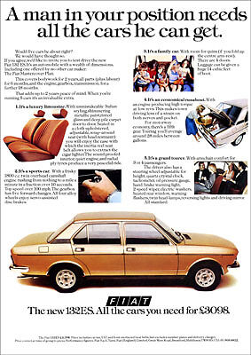 Fiat 132 Retro A3 Poster Print From Classic 70's Advert