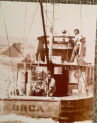 Jaws Cast On The Hunt Sepia Poster