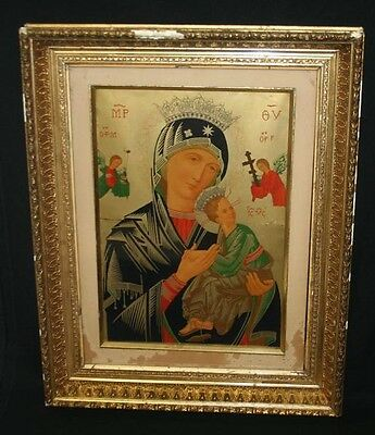 Antique Victorian Our Lady of Perpetual Help Icon Print & Gold Frame Mary Jesus