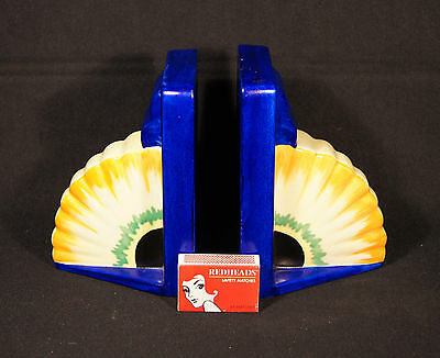 C.1930's Art Deco Pair Carlton Ware Book Ends Medley Pattern 3532 Electric Blue