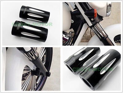 Black CNC Metal Front Fork Tube Boot Slider Cover Cow Bell For Harley Touring