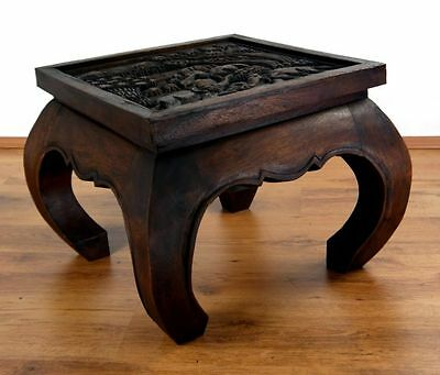 Asian Opium Table Elephant Carvings 50cm x 50cm Glass Top Coffee Table (Brown)