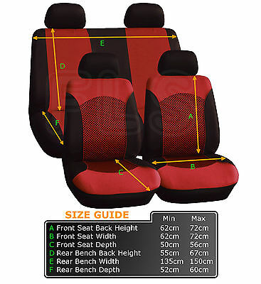 UNIVERSAL 8 PIECE CAR SEAT AND HEADREST COVER SET - BLACK / RED – Peugeot 1