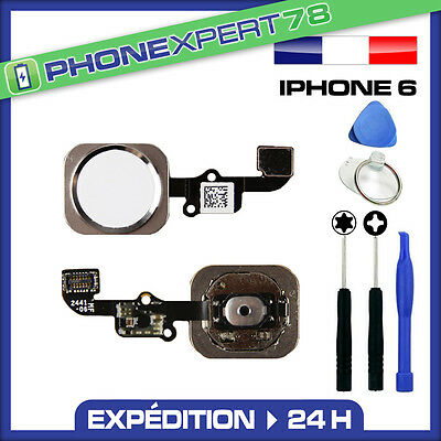 Bouton Home + Nappe Pour Iphone 6 Blanc / Argent + Kit Outils