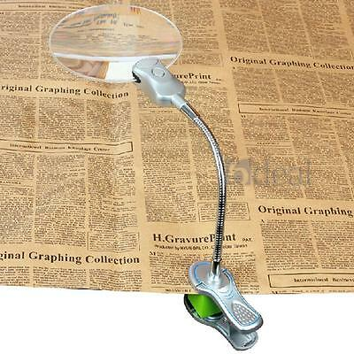 New 5X LED Light Desk Table Magnifier Metal Hose Magnifying Glass with Clamp