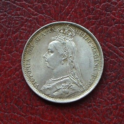 Victoria 1889 jubilee head silver sixpence