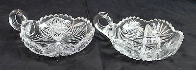 Lot of 2 Vintage Cut Pressed Crystal Dishes Bowls With Finger Holes Star Design