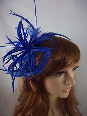 Royal Blue Feather Spray & Sinamay Comb Fascinator - Occasion Wedding Races