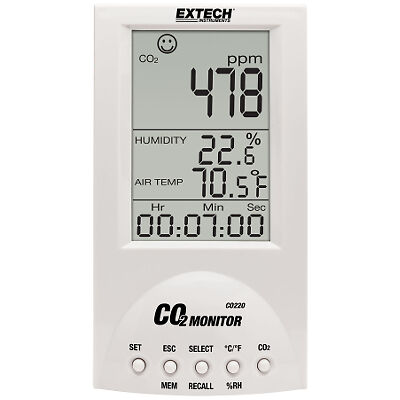 Extech CO220 Indoor Air Quality CO2 Monitor with Digital Display
