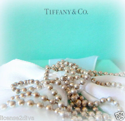 "Tiffany & Co Heavy Ball Chain 34"" Sterling Silver  Sturdy Tco Soldered Fine"