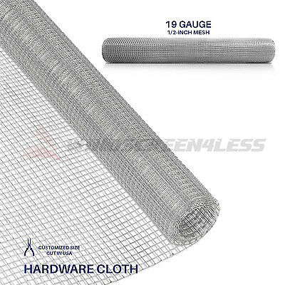 "Galvanized Hardware Cloth Wire Metal Mesh Fencing 24"" 36"" 48""19 Gauge 1/2"" Holes"