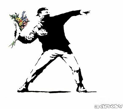 BANKSY flower thrower  chucker Quality canvas painting A2 Graffiti Art Poster