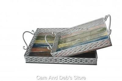 Metal Tray With Timber Base & Carry Handles Set Of 2
