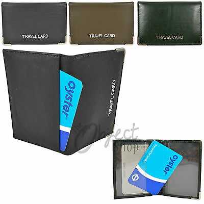 REAL Leather Travel Card Oyster Holder Credit ID Wallet Slip Bus Pass Rail 707
