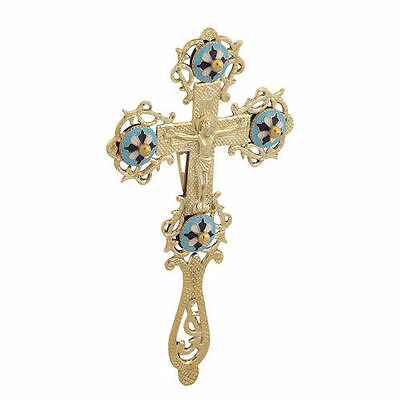 Blessing Cross Brass with Enamel Crucifix Eastern Christian Church Free Shipping