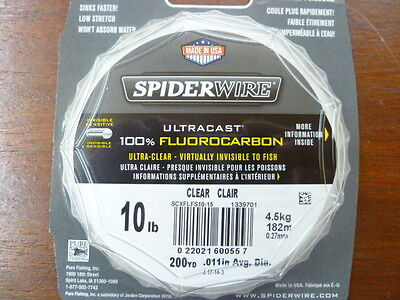 SPIDERWIRE ULTRACAST 100% FLOROCARBON 200yds 6lb - 15lb Clear
